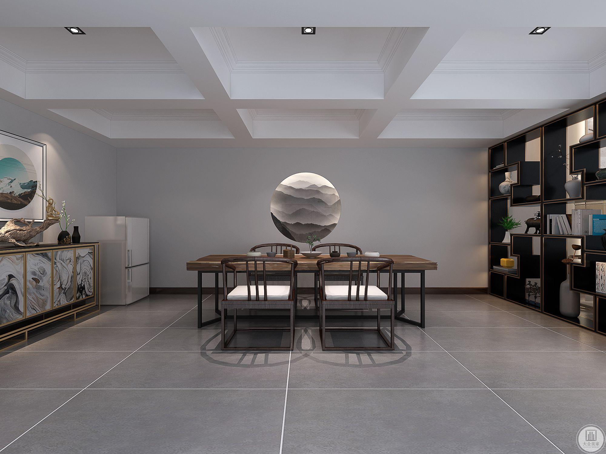 楼上楼下风格划分分明,中式韵味的书房,九宫格吊顶、圆形山水背景,久远悠长,灰色书桌,书柜,大气沉稳。