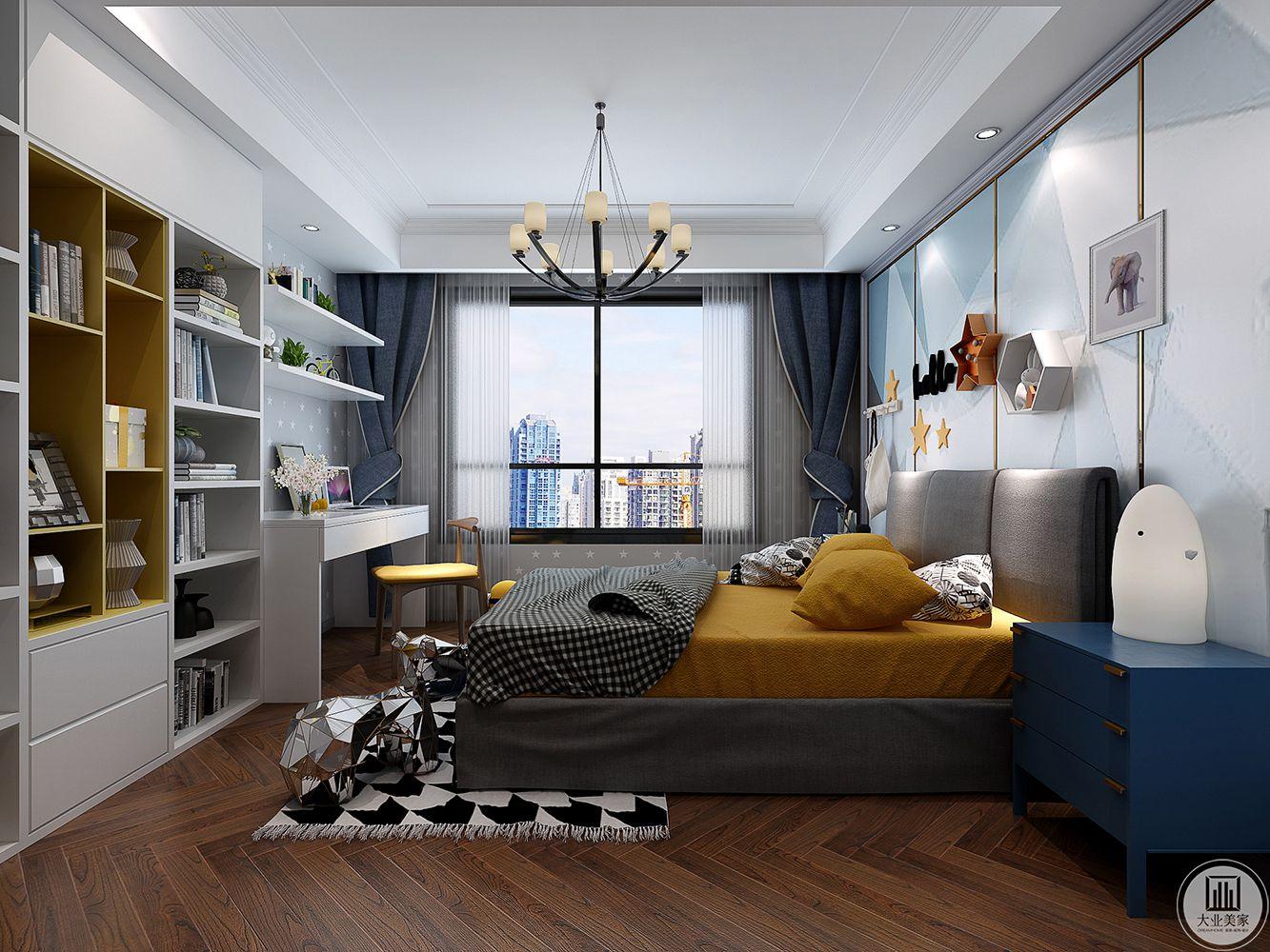小孩房的背景可爱精致,搭配精致的家具软装,一组书桌柜,实用又美观,儿童房的色彩大气中又有点俏皮,舒适感极强。