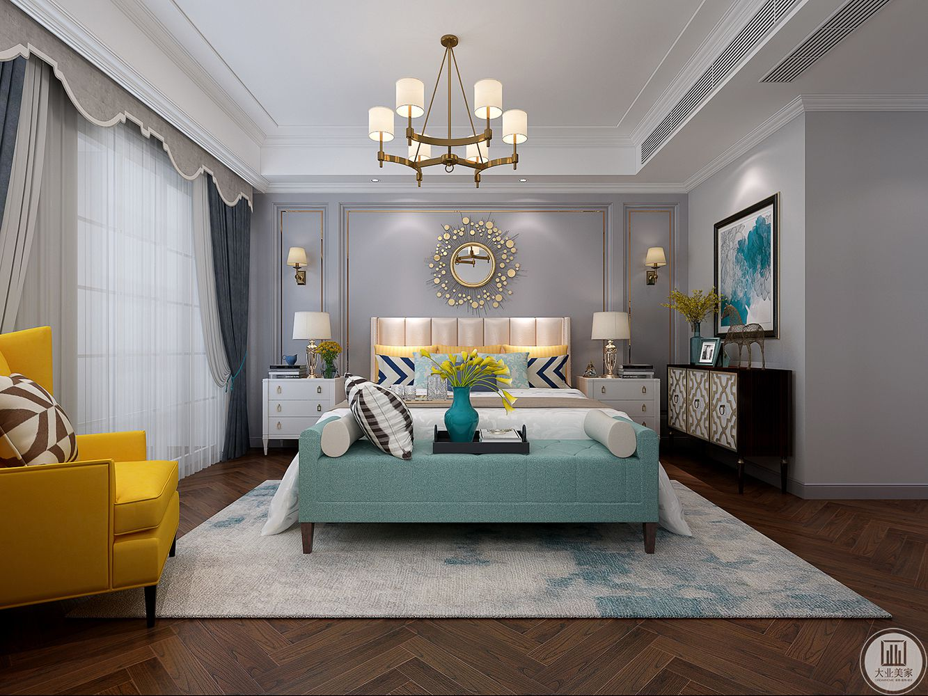 生活需要有格调,灰白色的背景墙、灰色的窗纱、大气优雅,颜色鲜明的休闲沙发,使整体空间变的鲜活、俏皮,营造着温暖柔且不失精致的睡眠氛围。