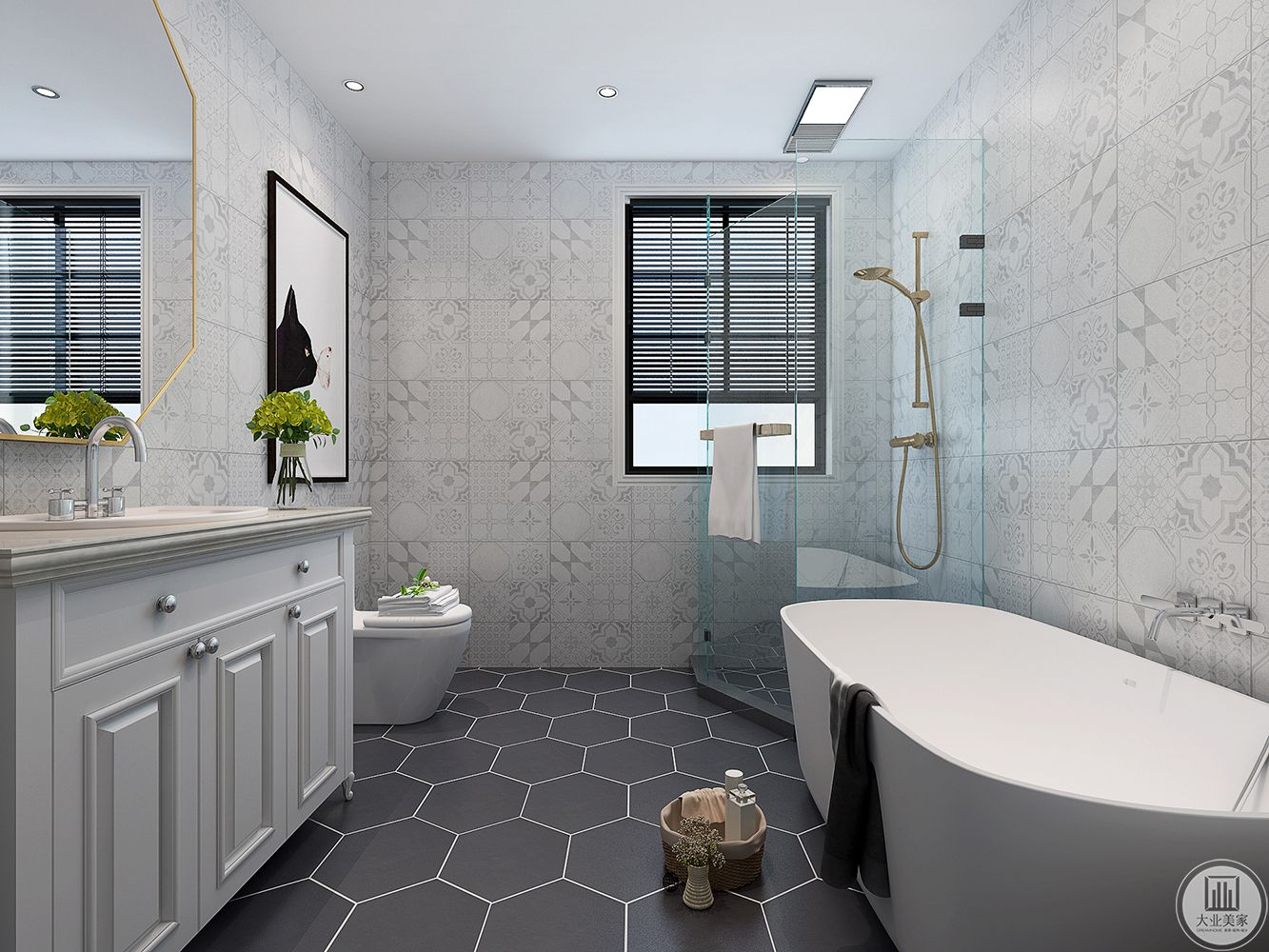 主卫菱形的的灰色地砖,个性大气,生活在于享受美好,一个浴缸,每晚泡个美美的泡泡浴,舒缓精神,白色的空间清爽有质感,可见主人的用心与品味。