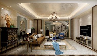 南京百家湖小区280平欧式古典装修效果图