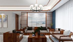 南京深业滨江半岛169平新中式装修效果图