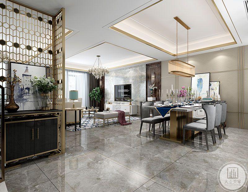 餐厅金属个性的水晶吊灯,金属线条走边的吊顶,采用6人座的长方形餐桌,空间局部的舒适性和整体色彩搭配的高质感,无一不展示着主人对生活品质的高要求。
