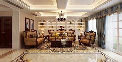 南京景枫法兰谷355平美式风格装修效果图