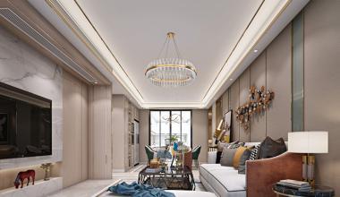 南京大名城紫金9号128平港式轻奢风格装修效果图