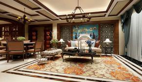 南京景枫加州城278平美式风格装修效果图