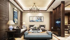 南京银城长岛观澜270平新中式风格装修效果图
