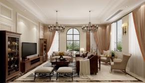 南京景枫加州城252平美式风格装修效果图