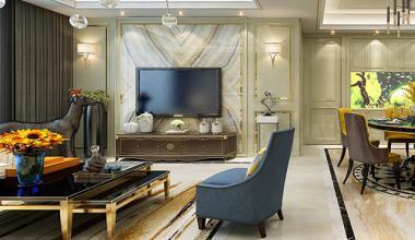 南京鲁能泰山七号院160平美式风格装修效果图