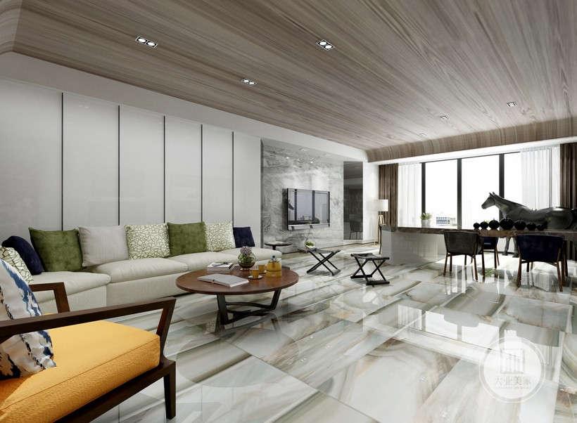 客餐厅,沙发背景是成品定制的隐形书柜,书柜用了白色烤漆的柜门,与整体空间融为一体,充分利用了空间。