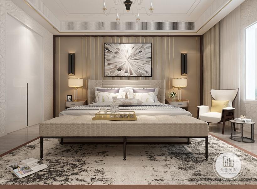 次卧室采用大面积的实木色,地板,床和床头柜,阳光透过阳台稀稀落落照了进来,就算在家,也能置身自然的美妙
