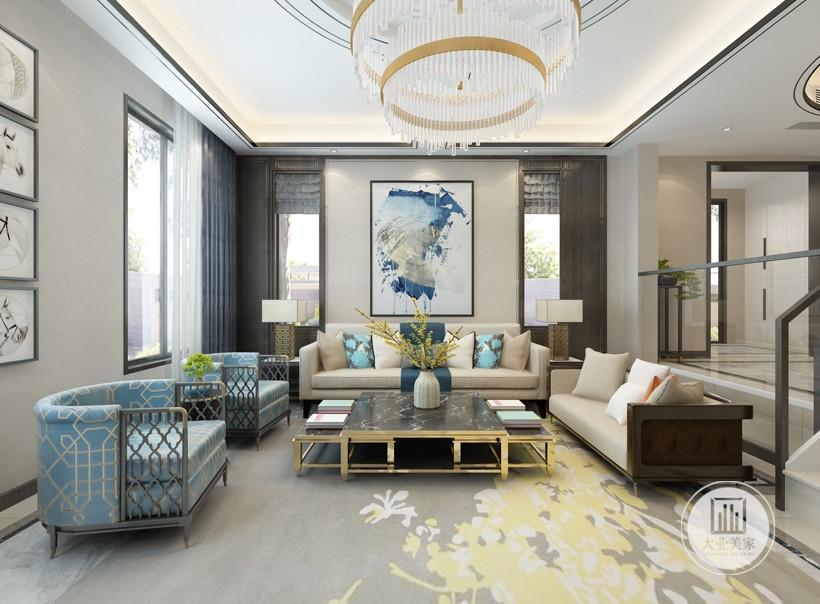 客厅蓝白色的色彩搭配沉稳而低调,蓝色与白色的纯净搭配,包含生气而不是气质,看一眼便能让人内心平和而舒适